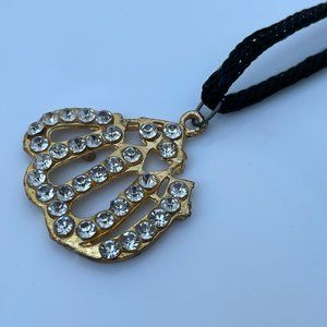 ALLAH Pendant Gold Tone Crystal Accents Necklace w
